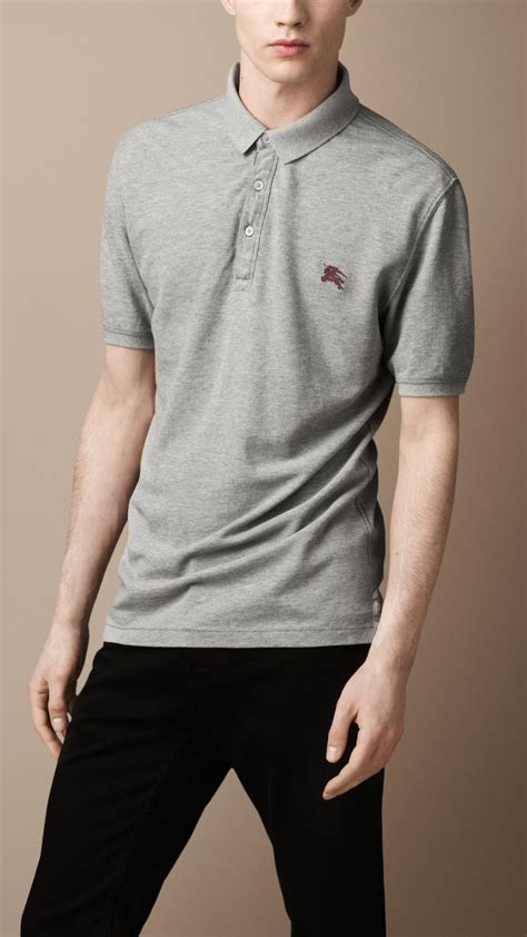 Lyst - Burberry Check Placket Polo Shirt in Gray for Men