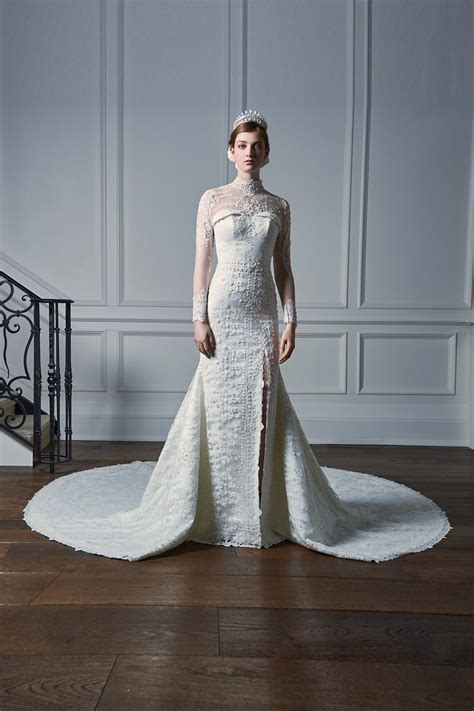 EMBROIDERED SILK SATIN MERMAID BRIDAL GOWN WITH LONG