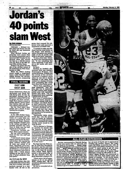 Michael Jordan's 40 points carries East to a 138-133