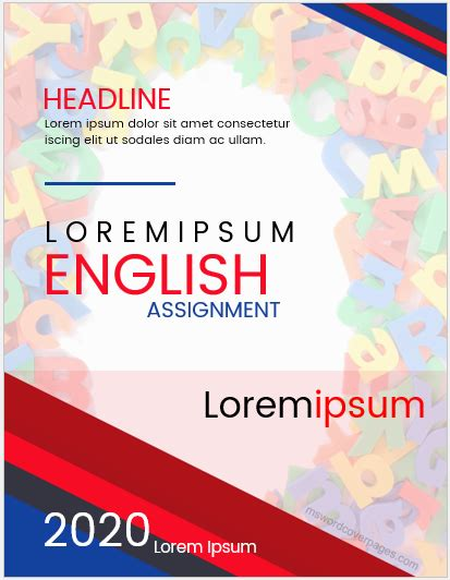 English Assignment Cover Page Templates | MS Word Cover