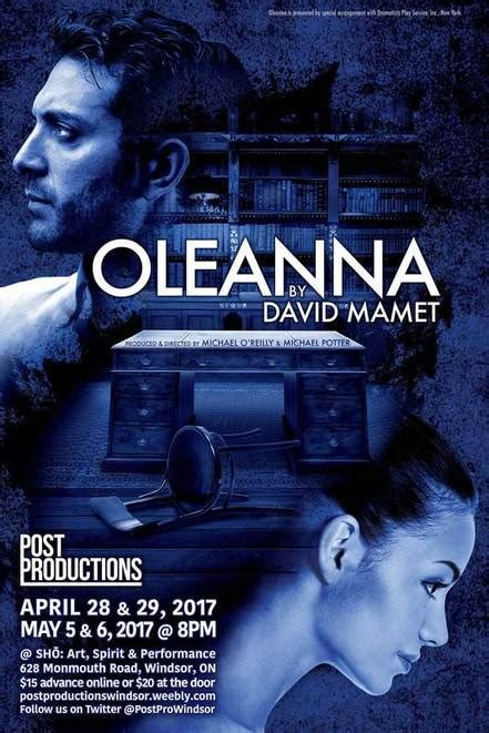 Post Productions Theatre Company Windsor Presents Oleanna
