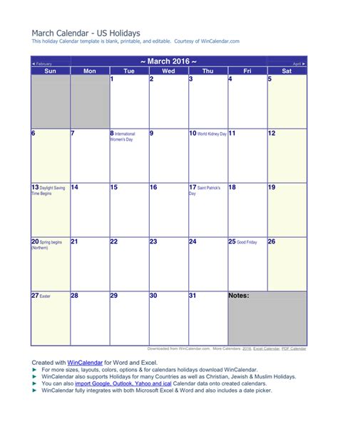 March 2016 Calendar in Word and Pdf formats