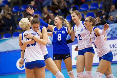 Sexy Russian girls play volleyball in the women's Super