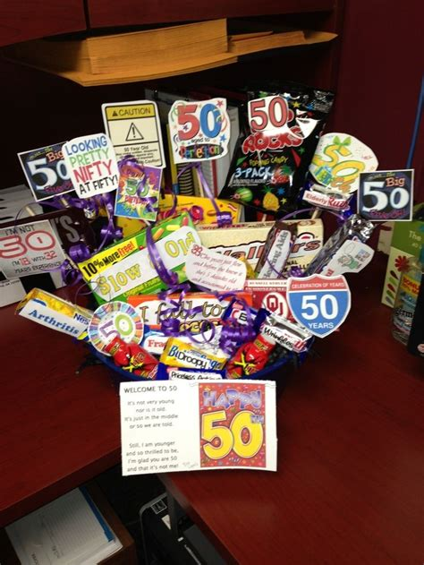 Ideas For A 50th Birthday Gift Basket | Funny 50th